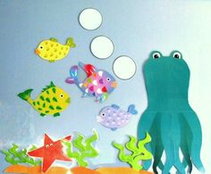 Rainbow Fish bulletin board Rainbow Fish Bulletin Board, Fish Bulletin Boards, Classroom Themes, Preschool Ideas, Beach Themes, Educational Toys, Teaching Resources, Dinosaur Stuffed Animal, Projects To Try