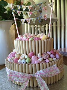Vintage Style 8th birthday cake using pic n mix sweets and banner. Very pretty cake decorated with white chocolate fingers and pink and white sweeties.