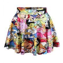 2014 Pirate Punk Skirts Galaxy Short Dresses Digital Printing ADVENTURE TIME Attack Of The Unicorn Mini Skirt For Women(China (Mainland))