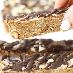 No Bake Granola Bars, Healthy Granola Bars, Homemade Granola Bars, Healthy Bars, Healthy Sweets, Healthy Baking, Chewy Granola Bars, Healthy Snacks, Summer Dessert Recipes