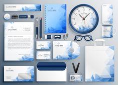 Abstract blue business collateral set vector image on VectorStock Business Cards Layout, Professional Business Cards, Stationery Items, Stationery Design, Corporate Identity Design, Branding Design, Design Logos, Envelopes Design, Natal Design