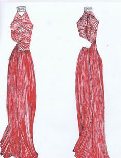 Red and Pearl Gown/Dress Fashion Design by Tiffany Rose Monahan
