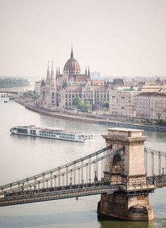 Viking River Cruises' Odin slips by the Hungarian Parliament Building along the Danube River, just beyond Budapest's Chain Bridge. Hungary