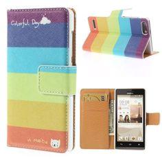 Mesh - Huawei Ascend G6 - Wallet Case Hoesje Gekleurde Strepen | Shop4Hoesjes.nl