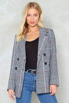 Nasty Gal nastygal Back in Business Check Blazer Ootd Fashion, Girl Fashion, Fashion Outfits, Fashion Fall, Business Checks, Business Attire, Checked Blazer, Double Breasted Jacket, Street Style Trends