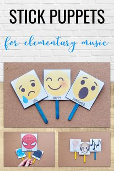 Free editable templates for stick puppets! You can use these in your elementary music classroom to teach many different concepts, such as mood, pitch, improvisation, and more!