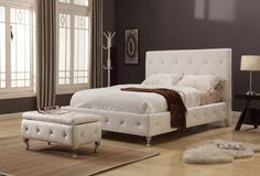 Contemporary Bedroom Design with Full Size White Upholstered Bed Frame, White Crystal Button Tufted Upholstered Headboard, and Tufted Design Upholstered Storage Bench Ottoman White Color - . Full Size Bed Frame With Headboard Gallery on FFGCEvents.com. Contemporary Bedroom Design with Full Size White Upholstered Bed Frame, White Crystal Button Tufted Upholstered Headboard, and Tufted Design Upholstered Storage Bench Ottoman White Color, 10  designs in Full Size Bed Frame With Headboard…