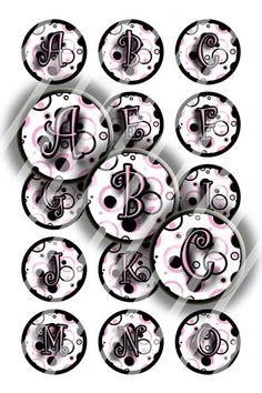 Pink Black Circles Initials Digital Collage (A147) for Bottle Caps | BottlecapBuzz - Graphics on ArtFire