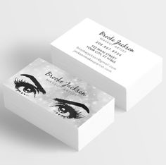 already designed makeup artist business cards with silver sparkles and eyes with lashes