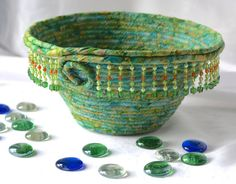 Wexford Treasures: Lovely Moss Green Bowl Handmade Sea Green Basket by WexfordTreasures