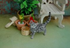 OOAK Realistic Handmade ~ Classic Tabby Cat ~ Dollhouse Miniature 1:12 Sculpture by Reve