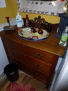Antique wash stand with Mexican Talavera sink.