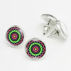 Neon Colorful Spring Mandala Earrings. Indian Art Earrings Studs. Glass Dome, Nickel Free Stud Earring, Silver Stud Earrings KSZ02R16K01S