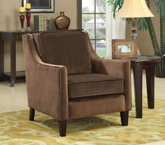 Coaster Furniture - Brown Basket-Weave Microvelvet Accent Chair - 902043