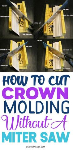 Cutting crown molding is HARD for beginners. And even for more experienced DIY'ers too! If you don't have a miter saw, check out how you can cut crown molding correctly the first time using a cheap miter box. Cheap Crown Molding, Cut Crown Molding, Floor Molding, Diy Molding, Narrow Hallway Decorating, Cabinet Molding, Diy Cutting Board, Miter Saw, Baseboards