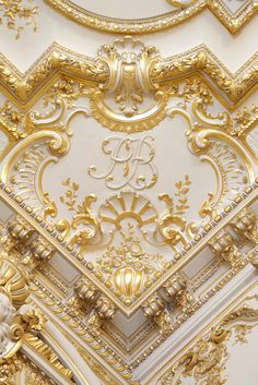 Gilded and painted ceiling. The Shangri-La Hotel, Paris, once the home of Prince Roland Bonaparte