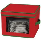 Found it at Wayfair - Storage and Organization Holiday Dinner Plate Chest with Green Trim in Red
