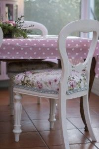 Upholstered, painted, floral, duck egg blue, shabby chic chair.