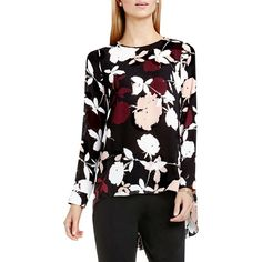 Vince Camuto Chapel Rose Printed Blouse featuring polyvore women's fashion clothing tops blouses plus size rosey flush floral print tops long sleeve keyhole top keyhole top plus size keyhole top vince camuto tops