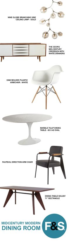 A Mid-Century Modern Dining Room isn't complete without a little Eames or Saarinen inspiration. The mid century era is known for its clean designs that blended minimalism and modernism. The 1950's were a hell of a time!