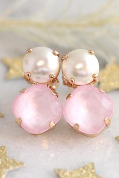 Pink Earrings, Powder Pink Earrings, Bridesmaids Pink Earrings, Rose Quartz Bridal Earrings, Swarovski Pink Stud Earrings, Gift For Woman  ♥IF YOU WANT THE BEST CHOSE THE ORIGINAL ♥ Top Quality Materials ♥ Excellent Customer Service ♥ Swarovski Authentications Tags ♥ Petite Delights is an Official SWAROVSKI® Branding Partner Official Swarovski Elements® Partner Made with real genuine high quality Austrian Swarovski ©Crystal . Our brand is legally licensed & authorized By Swarovski Company...