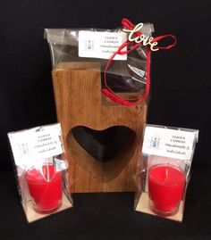 Gift wrapped Solid Oak Heart candle holder & 2 scented 'Candles In A Glass' Chocolate Gifts, Solid Oak, Scented Candles, Valentines Day, Candle Holders, Gift Wrapping, Heart, Glass, Cards