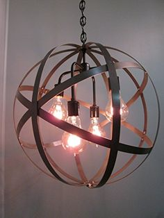 Steel Orb Sphere Wine Barrel Ring Chandelier 4 Light Black Ceiling Fixture Vintage Ironworks