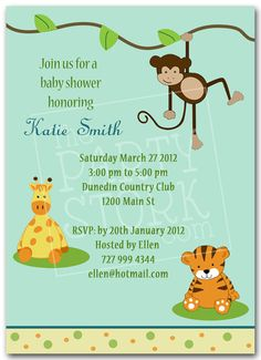 Safari Baby Shower Invitations, Jungle Animal Party Theme, Printable Invitation for Boy or Girl Birthday, Giraffe, Tiger and Monkey Invite