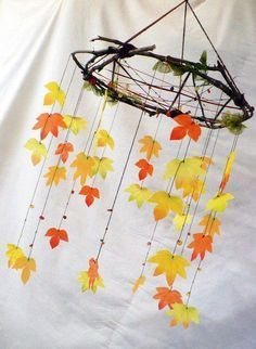 So beautiful. Love the sticks instead of wire like - Quilled Paper Art Autumn Crafts, Autumn Art, Nature Crafts, Holiday Crafts, Autumn Leaves, Diy And Crafts, Crafts For Kids, Arts And Crafts, Fall Halloween