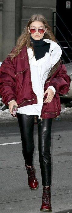 Gigi Hadid in Jacket (white)- Bassike Sunglasses – Lespecs Coat – Vetements Shoes – Dr Martens Purse – M2malletier