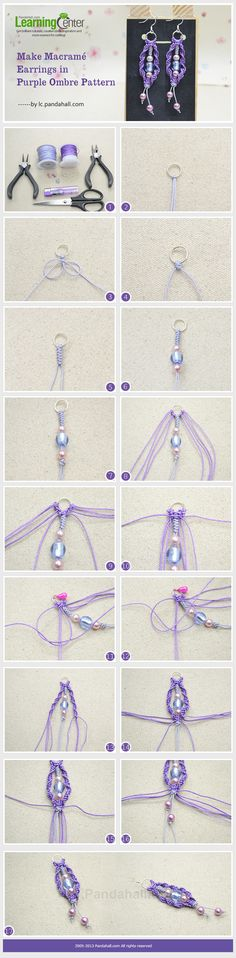 Make Macramé Earrings in Purple Ombre Pattern