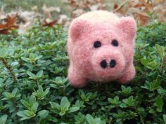MADE TO ORDER Franklin the Cute Pink Needle Felted Wool Pig. $18.00, via Etsy.