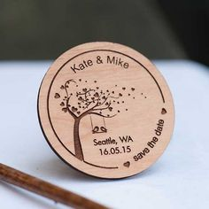 Love Birds on Swing Under Tree Save the Date Magnets - Laser cut and Etched on Wood