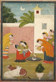 Krishna Reaching for the Moon, c. 1820 India, Pahari Hills, Guler school, 19th century | Cleveland Museum of Art
