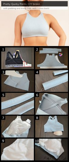 DIY Custom Sports Bra Make a sports bra that comfortably fits you from this tutorial. Pretty Quirky Pants also has tutorials for: Neoprene bralet Neoprene bralet with braided racer back Cross back bra