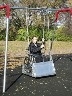 Sportsplay™ Adult Wheelchair Swing Frame with Platform and To-Fro Hangers is:  Designed to accomodate adult and juvenile size wheelchairs, Can accomodate adult-sized motorized wheelchairs, and The ideal solution for All-Abilities playgrounds! Find more at www.noahsplay.com