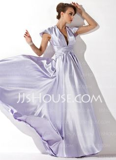 [US$ 128.99] A-Line/Princess V-neck Floor-Length Charmeuse Evening Dress With Ruffle (017021119)