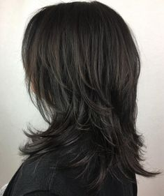 60 Lovely Long Shag Haircuts for Effortless Stylish Looks Black Mid-Length Shag Hairstyle Medium Shag Haircuts, Edgy Haircuts, Shag Hairstyles, Sleek Hairstyles, Feathered Hairstyles, Layered Haircuts, Modern Shag Haircut, Long Shag Haircut, Haircut For Thick Hair