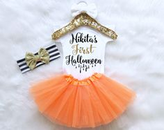 Baby's First Halloween Outfit. Baby Halloween Costume. Halloween Tutu Outfit. Baby Girl Halloween. Halloween Shirt. Halloween Headband by MollieAndLola on Etsy https://www.etsy.com/listing/466131306/babys-first-halloween-outfit-baby
