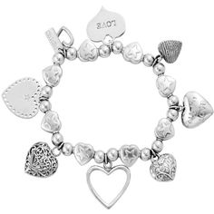 Chlobo Chlobo Sterling Silver Hearts Charm Bracelet ($310) ❤ liked on Polyvore featuring jewelry, bracelets, heart charm, heart shaped jewelry, sterling silver charms, heart jewelry and heart shaped charms
