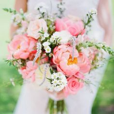 Pink wedding bouquets pink peony wedding bouquet with wildflowers deer pearl flowers Peony Bouquet Wedding, Peonies Bouquet, Bride Bouquets, Pink Peonies, Floral Bouquets, Floral Wedding, Wedding Flowers, Purple Bouquets, Purple Wedding
