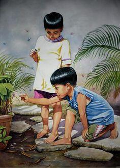 Chasing Dragonflies Painting by Jose Vistan Art Tigre, Dragonfly Painting, Composition Painting, Philippine Art, Art Village, Childhood Games, Tiger Art, Art Drawings For Kids, Indian Art Paintings