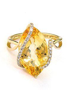 Lord & Taylor citrine & diamond ring