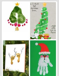 December Christmas Handprint Art Ideas Like This Santa Too Double Foot Tree Is Cue Ive Seen Others That Look A Bit Better