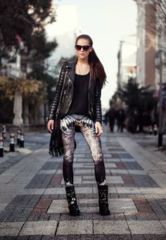 leather jacket with printed pants