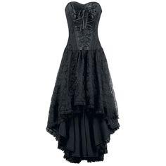 """Das """"Mollflander"""" Kleid mit angesetzter Korsage - florale Spitze - 11 Plastik Stäbchen - Schnürungen  - seitlicher Reißverschluss  - Innenfutter: 100% Baumwolle - Länge: vorne: 80 cm, hinten: 109 cm   Verdammt sexy wird's mit diesem schwarzen Mollflander Maxikleid von Burleska. Die Kombination aus einer Korsage und einem Kleid wird definitiv für einen eleganten Auftritt sorgen. Stilecht wird das Kleid am Rücken zugeschnürt - Blickfang! Durch die Schnürung und die Silikon Stäbchen sitzt die…"""
