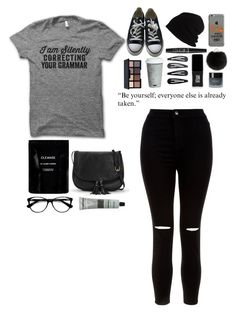"""Black and Gray"" by musicislife-983 ❤ liked on Polyvore featuring New Look, Converse, SCHA, Yves Salomon, NYX, Cleanse by Lauren Napier, Fitz & Floyd, Accessorize, JINsoon and Smashbox"