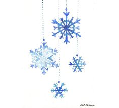 Original watercolor Christmas Card - Snowflakes