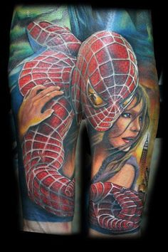 Beautiful color real Spider-Man Tattoo by Chris Blinston, contestant on the 2015 season of Ink Master Tatoo Art, Body Art Tattoos, Sleeve Tattoos, Cool Tattoos, Tatoos, Geek Tattoos, Awesome Tattoos, Movie Tattoos, Crazy Tattoos