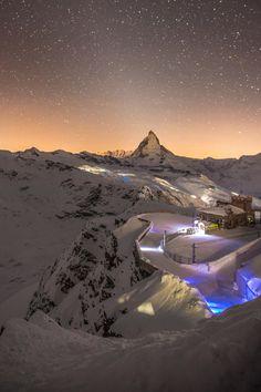 Stars over Matterhorn, as seen from Gornergrat station. Zermatt- Switzerland